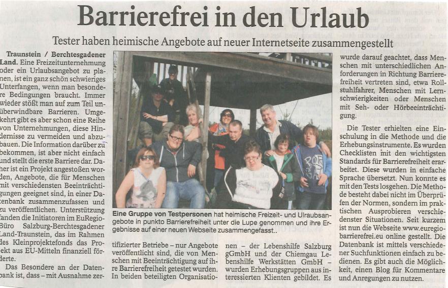 Zeitungsartikel aus der Printausgabe des Traunreuter Anzeigers vom 14.04.2015
